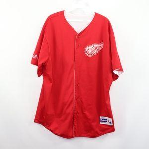 Majestic Mens XL Detroit Red Wings Baseball Jersey